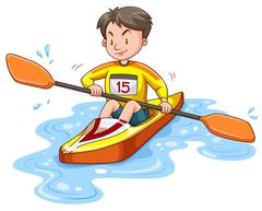 Man doing kayaking alone Stock Illustration