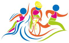 Triathlon icon in colors Stock Illustration