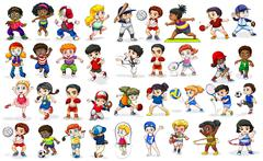 Children doing many sports and activities Stock Illustration