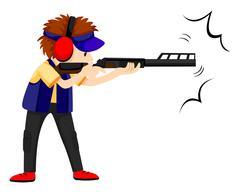 Man athlete shooting with rifle gun Stock Illustration