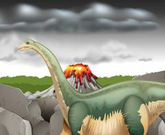 Scene with dinosaur and volcano Piirros