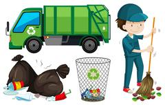 Set of garbage truck and janitor Piirros