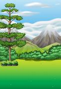 Nature scene with field and mountains Stock Illustration