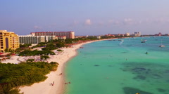 Aerial from Palm Beach on Aruba island in the Caribbean Stock Footage