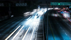 Freeway Busy Traffic 63 Time Lapse Night 4K Stock Footage