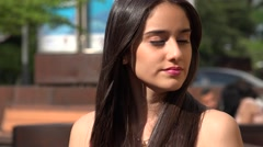 Serious Pretty Teen Girl Stock Footage
