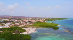 Aerial from Mangel Halto beach on Aruba island in the Caribbean Stock Footage