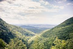 Landscape of a valley in New England, Berkshire County, Massachusetts, USA - stock photo