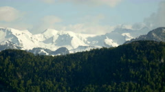 Mountain Snow Peaks above Forest Hills - 29,97FPS NTSC Stock Footage