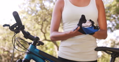 Woman wearing cycling gloves Stock Footage