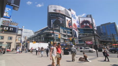 Intersection of Yonge and Dundas streets in Toronto, Canada. Stock Footage