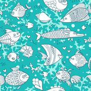 Background underwater world. Seamless pattern with cute fish, shells, corals - stock illustration