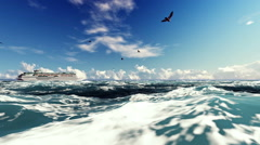 Cruise Ship Sailing Against Beautiful Afternoon Clouds, Seagulls Flying Stock Footage