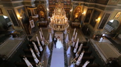 Wedding in a chapel Stock Footage
