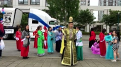Tri-city Chinese Canadian association parading the street on Festival Coquitl - stock footage