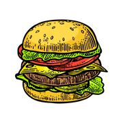 Burger include cutlet, tomato, cucumber and salad isolated on white backgroun Stock Illustration