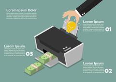 Transform the idea to the money by printer infographic - stock illustration