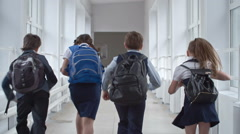 Childrens Late for School Stock Footage