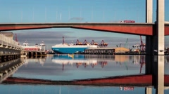 Closeup shot of Bolte bridge and large cargo vessel, Melbourne, Australia Stock Footage