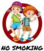 Two boys smoking cigarette Stock Illustration
