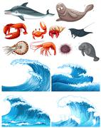Ocean waves and sea animals Piirros