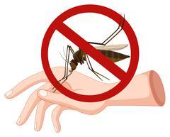 Mosquito biting on hand Piirros