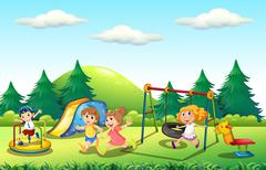 Children playing in the playground Stock Illustration