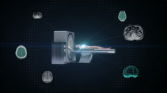 X-ray CT scanner, medical diagnosis technology.MRI - stock footage