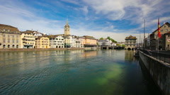 View to Historic Zurich city center and Zurich lake, Switzerland Stock Footage