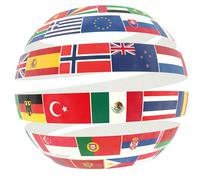 3D illustration of National flags twisted as spiral globe - stock illustration