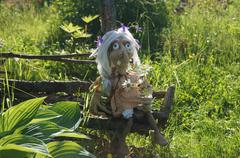 Baba yaga, linked from threads using the hook. - stock photo