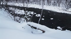 Mountain River in the winter forest Stock Footage