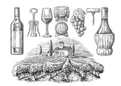 Wine set. Bottle, glass, corkscrew, barrel, vineyard. Black vintage engraved  Stock Illustration