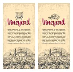 Rural landscape with villa, vineyard fields and hills. Vector engraving drawn - stock illustration