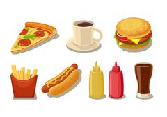 Set fast food icon. Glass of cola, hamburger, pizza, hotdog, cup coffee, frie - stock illustration