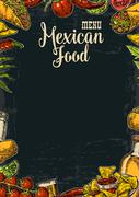 Mexican traditional food restaurant menu template with spicy dish. - stock illustration