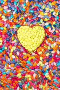 Colorful and yellow Hearts background. Sweetheart Candy. Valentines Day - stock photo