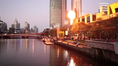 Crown Casino Fire Show fragment at dusk Stock Footage
