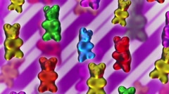 Seamless animation gummy bears dancing. - stock footage