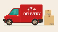 Red delivery van with shadow and cardboard boxes fragile signs - stock illustration