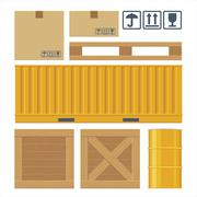 Brown carton packaging box, pallet, container, wooden crates, metal barrel Stock Illustration