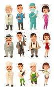 Set icon character cook, mafia, doctor. Waiter, chef, waitress, don, capo, so - stock illustration