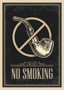 Retro poster - The Sign No Smoking in Vintage Style. Vector engraved illustra Stock Illustration