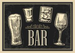 Poster or signboard BAR. Set glass beer, whiskey, wine, tequila. Vector engra - stock illustration