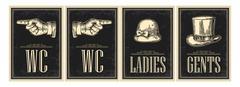 Toilet retro vintage grunge poster. Ladies, Cents, Pointing finger.  Vector v - stock illustration