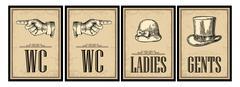 Toilet retro vintage grunge poster. Ladies, Cents, Pointing finger.  Vector v Stock Illustration