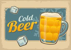 Vintage poster cold beer and snowflake. Retro label or banner design. Vector  Stock Illustration