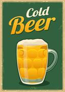 Vintage poster cold beer. Stock Illustration