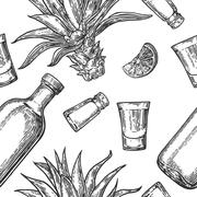 Seamless pattern of glass bottle, tequila, salt, cactus and lime - stock illustration