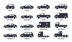 Car Type and Model Objects icons Set, automobile. Stock Illustration
